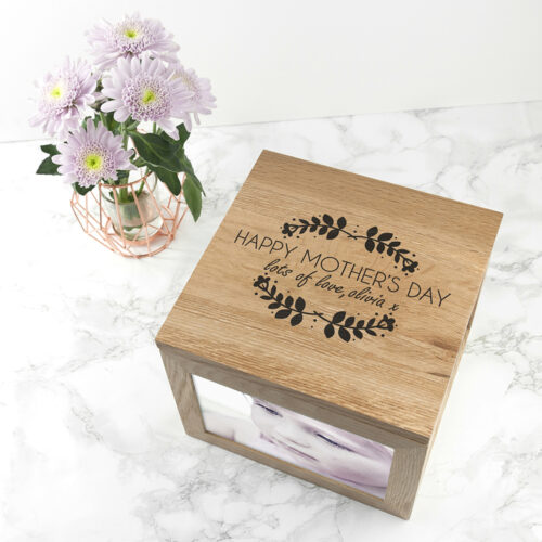 Personalised Happy Mother's Day Large Oak Photo Cube