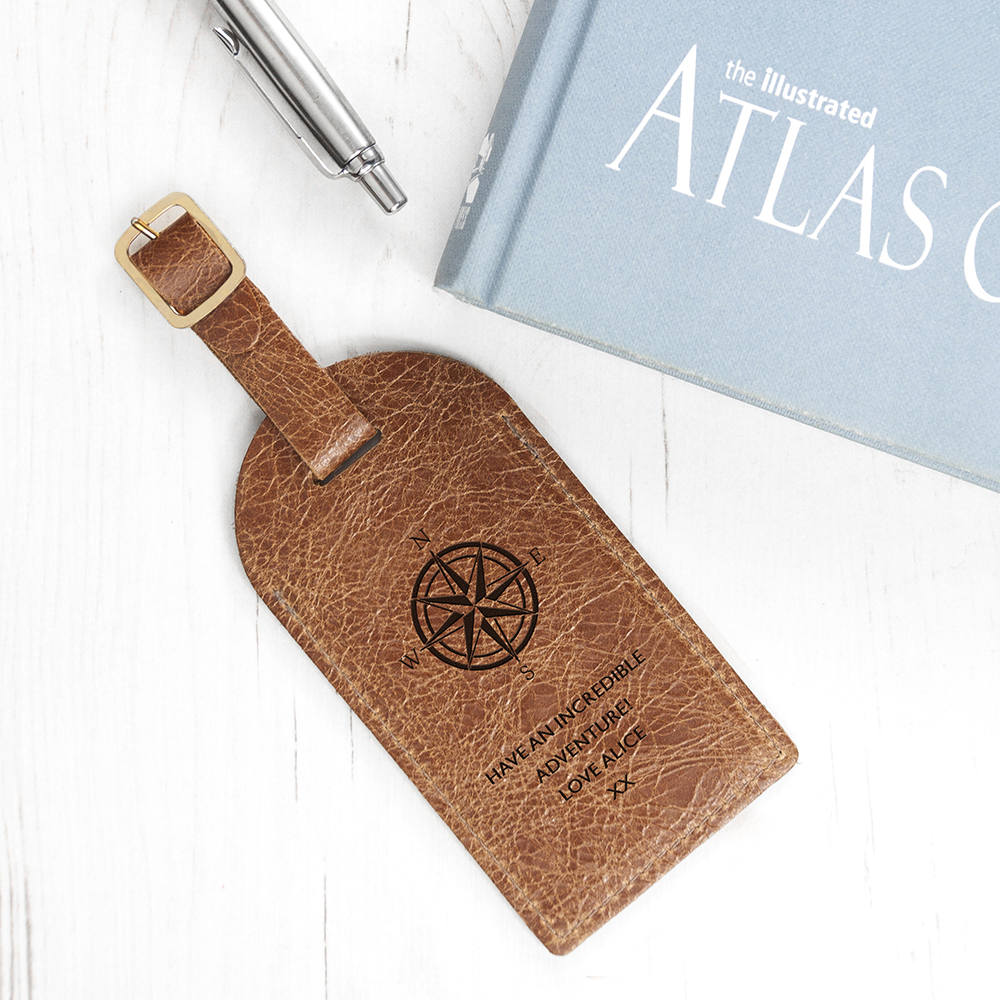 Personalised Natural Tan Engraved Leather Luggage Tag