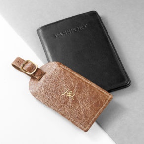 Download Product Image Personalised Natural Tan Foiled Leather Luggage Tag Product Specification Length: 12cm Width: 6cm Weight : 20g Shipping Weight: 200g Product Description Luxury leather luggage tag with gold buckle, the perfect gift for a professional or a leaving present for the budding traveller! Personalised with up to three initials which are carefully hand stamped with metallic gold, adding a touch of luxe. Made from genuine leather. Personalised Natural Tan Foiled Leather Luggage Tag
