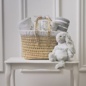 Personalised White & Grey Gift Basket with Grey Bunny Soft Toy