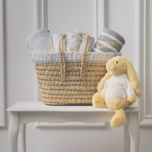 Personalised White & Grey Baby Gift Basket with Lemon Bunny Soft Toy