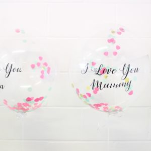 Personalised Pink hearts , Green, Gold Confetti Balloon