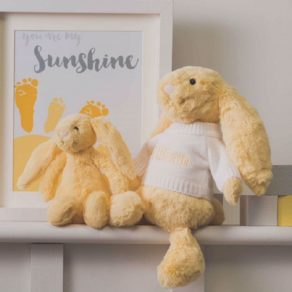 Personalised Lemon Bashful Bunny Soft Toy