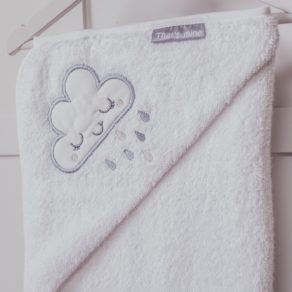 Personalised Cloud Design White Embroidered Towelling Cuddlerobe