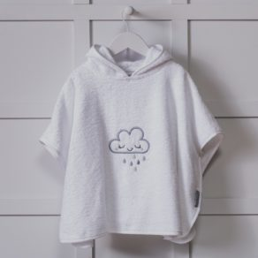 Personalised Cloud Design White Embroidered Poncho Towel