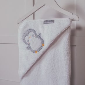 Personalised Penguin Design White Embroidered Towelling Cuddlerobe