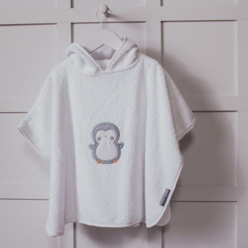 Personalised Penguin Design White Embroidered Poncho Towel