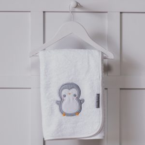 Personalised Penguin Design White Embroidered Towel