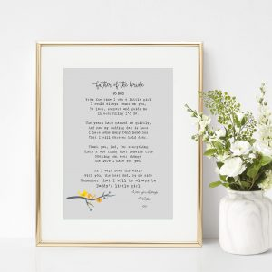 Personalised Father of the Bride Print