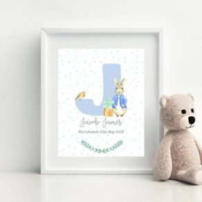 Initial Bunny Rabbit Themed Personalised Print