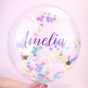 Personalised Colourful Rainbow Name Confetti Balloon