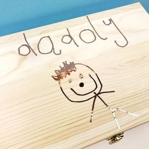 Personalised Childs Drawing Wooden Keepsake Box