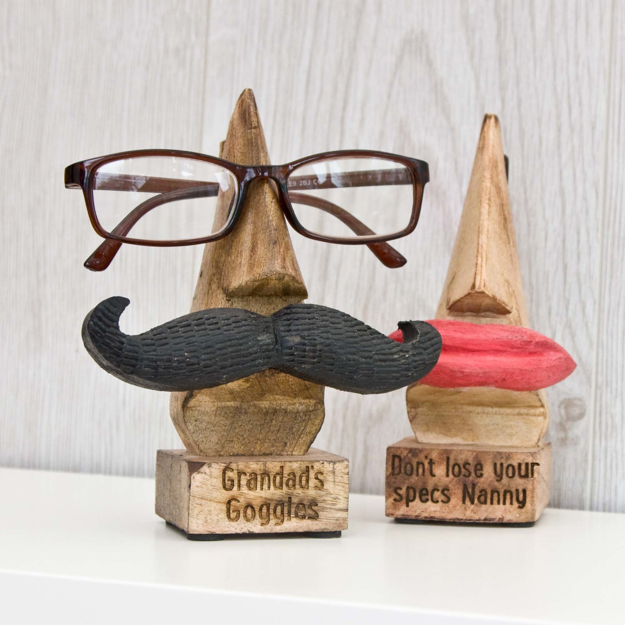 Personalised Glasses Stand with Tash or Lips