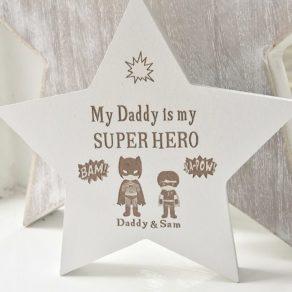 Personalised Superhero White Freestanding Star