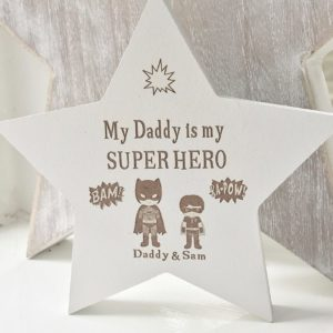 Personalised Superhero White Freestanding Star