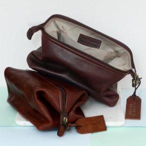 Personalised Genuine Leather Washbag