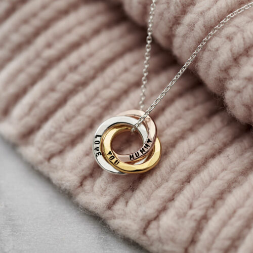 Personalised Mixed Gold Mini Russian Ring Necklace