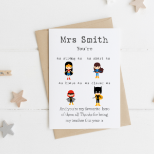 Personalised Favourite Hero Female Teacher Card
