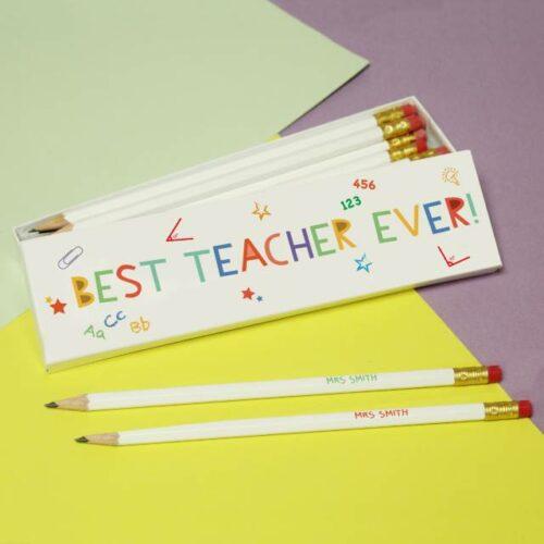 Best Teacher Ever Personalised Pencils & Box Set