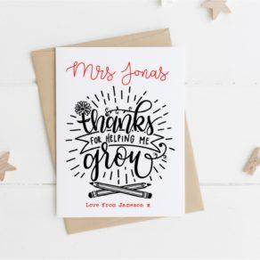 Personalised Helping Me Grow Teacher Card
