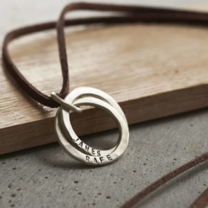 Personalised Men's Silver Interlinking Hoops Necklace With Leather suede Cord