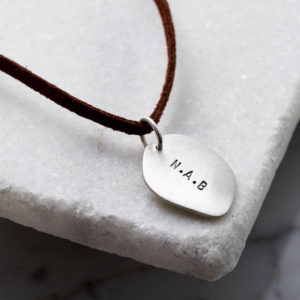 Personalised Men's Silver Organic Necklace With Leather Cord