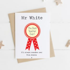 Personalised Rosette Teacher card
