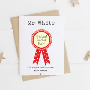 Personalised Rosette Teacher card