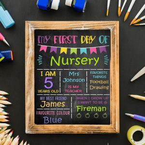 Personalised 1st Day At School / Nursery Chalkboard Print