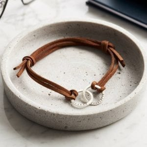 Personalised Men's Double Hoop Leather Bracelet