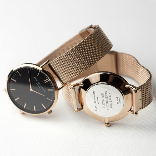 Personalised Elie Beaumont Rose Gold Mesh Strapped Watch