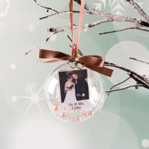 Personalised Wedding Christmas Photo Bauble