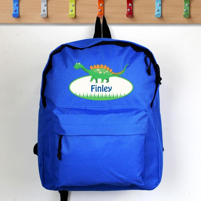 Personalised Dinosaur Blue Backpack