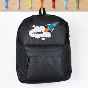 Personalised Rocket Black Backpack