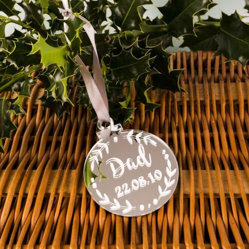 Personalised Silver Mirror Memorial Hanging Bauble