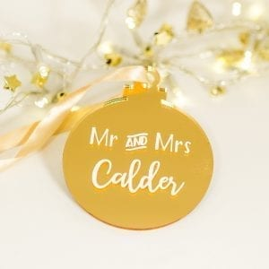 Personalised Mr and Mrs Gold Mirror Hanging Bauble