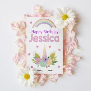 Personalised Children's Unicorn Birthday Card