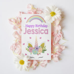 Personalised Children's Unicorn Birthday Card