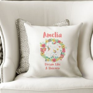 Personalised Floral Unicorn Cushion Cover