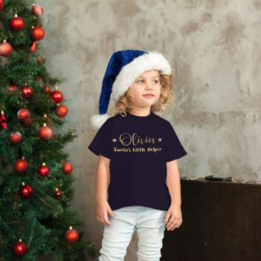 Personalised Kids Santa's Little Helper Tshirt