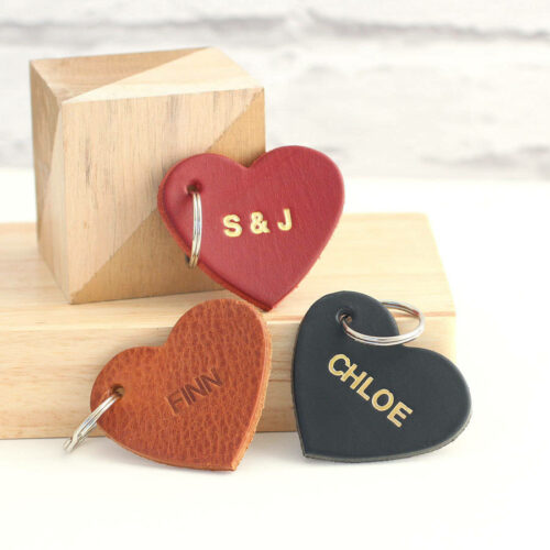 Personalised Embossed Leather Heart Keyring