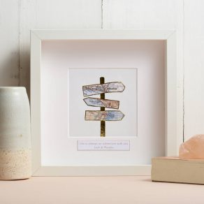Personalised Gold Foil Signpost Map Picture