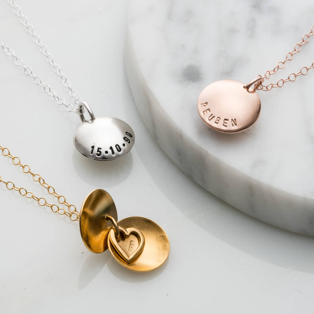 Personalised Heart Birth Charm Necklace