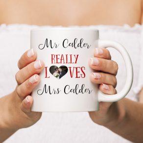 Personalised Mr Loves Mrs Mug