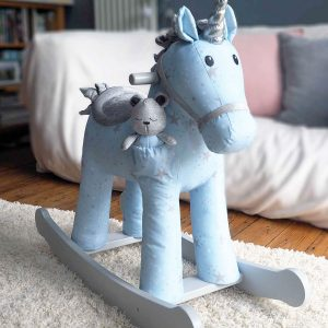 Moonbeam & Rae Personalised Blue Rocking Unicorn Horse