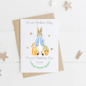 Personalised Rabbit Christening Card