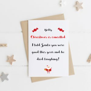 Personalised Christmas is Cancelled Card