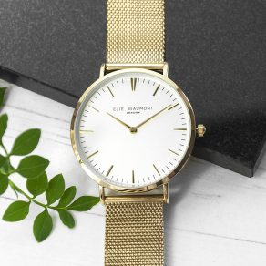 Personalised Elie Beaumont Yellow Gold Mesh Strapped Watch