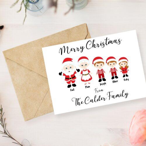 Personalised Christmas Santa Family Cards