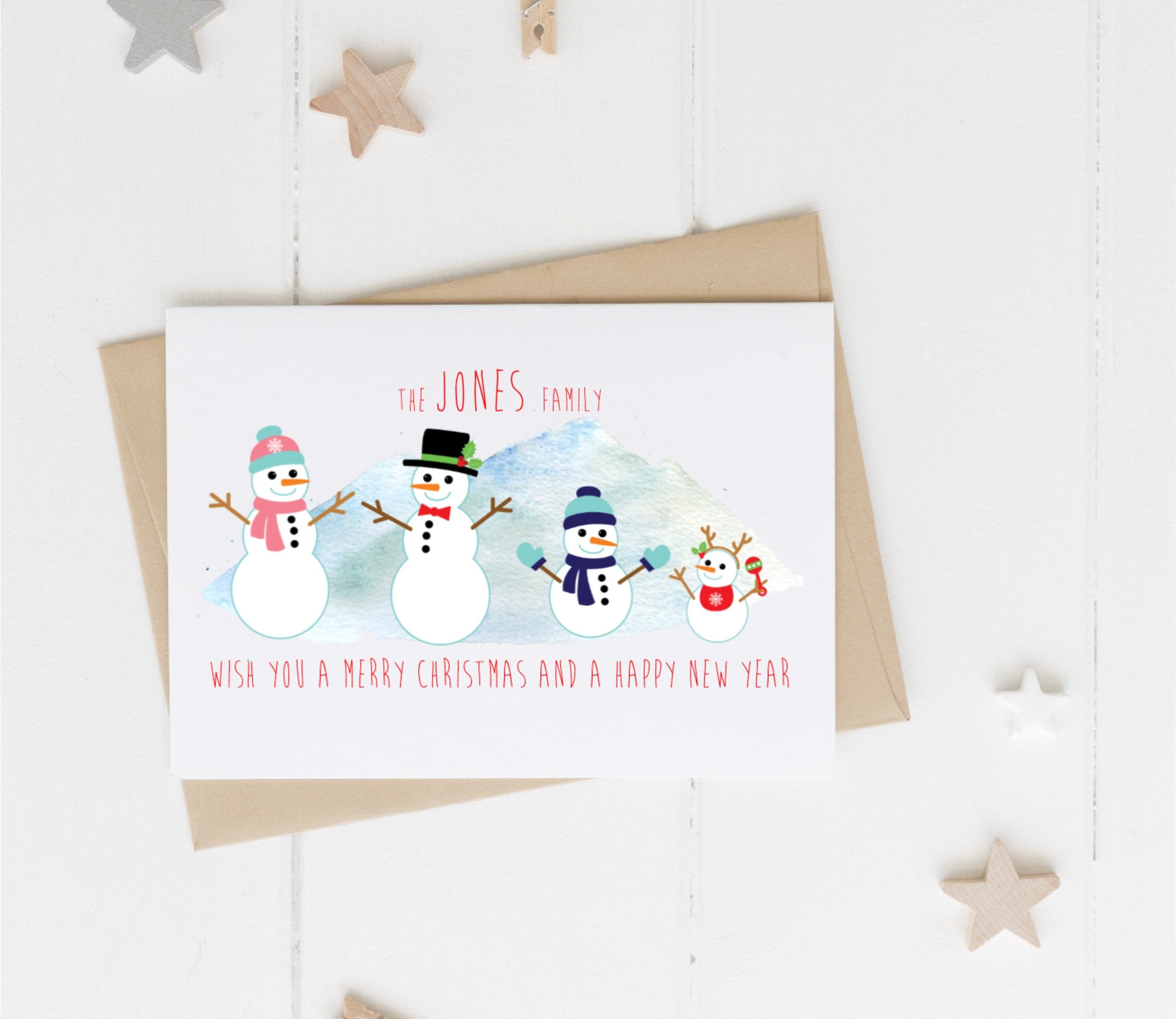 Personalised Pack of Snowmen Christmas Cards